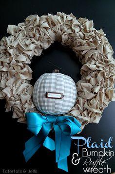 Plaid Pumpkin Ruffle Wreath! Perfect for fall!! -- Tatertots and Jello