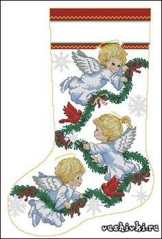 Картинки по запросу рождественский сапожок вышивка крестом схемы