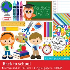 Back to school Clipart and Digital paper set by pixelpaperprints Kit Scrapbook, Back To School Clipart, Pics Art, Photoshop Elements, Educational Activities, Print And Cut, Art Images, Clip Art, Things To Sell