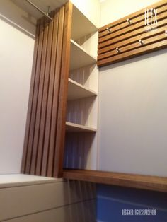 sauna dressing room Dressing Room, Wood Furniture, Shelves, Cabin, Curtains, Home Decor, Timber Furniture, Walk In Closet, Shelving