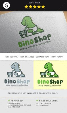 Dino Shop #Logo - Animals Logo Templates Download here: https://graphicriver.net/item/dino-shop-logo/19734217?ref=alena994