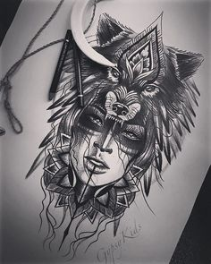 gypsy and the wolf print for nztattoofestival 20 on fine art texture nu ar Wolf Tattoo Design, Indian Tattoo Design, Sketch Tattoo Design, Tattoo Designs, Art Designs, Wolf Girl Tattoos, Indian Girl Tattoos, Wolf Tattoos For Women, Sleeve Tattoos For Women