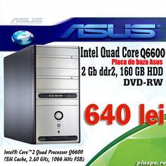 Calculator Asus refurbished Tower Quad Core Q6600, 2400 MHZ, 2 gb ddr2, 160 gb hdd, dvdrw, sunet, retea, usb, video on board + slot pci express = 640 lei