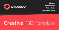 "Orlando - Creative PSD Template by ant_farm ""Orlando"" is a creative and clean template best suited for portfolios, agencies and freelancers. The package contains 15 well orga"