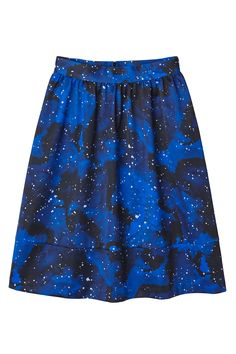 A starry night skirt, ready to whisk you away into the cosmos of cool. Made in a thick, cold-season-approved material with a back-zip closure. Its sweeping flow and large banded hemline will meet your skin right below the knees (probably).  colour. starry blues on black  In a size38 the waist width is 73 cm and the length is 63 cm. The model is 175 cm and is wearing a size 38.