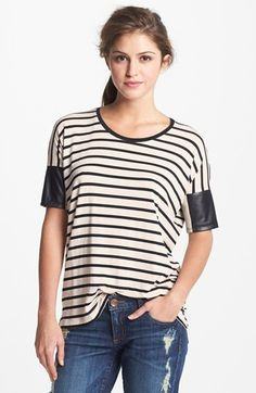 Two by Vince Camuto Faux Leather Sleeve Stripe Tee available at #Nordstrom