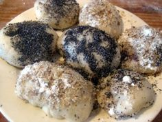 Slovak sweet steamed dumplings filled with plum jam and topped with poppy seeds or walnuts, buchty na pare