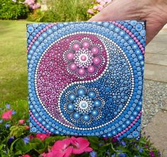 Yin Yang Dot Mandala Painting *Earth/Air/Water/Fire* 10 inch by 10 inch Stretched Canvas Painting. This painting actually looks great hung diagonal for a diamond effect. Mandala Canvas, Mandala Artwork, Mandala Dots, Mandala Painting, Mandala Pattern, Mandala Drawing, Yin Yang, Dot Art Painting, Stone Painting