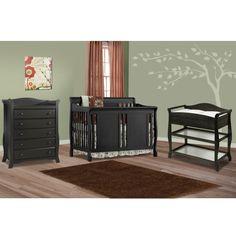 Storkcraft 3 Piece Nursery Set - Verona Convertible Crib, Aspen Changing Table and Avalon 5 Drawer Dresser in Black