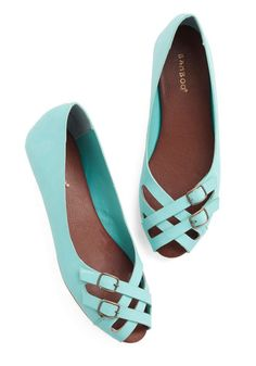 Prancing in the Moonlight Flat in Turquoise - Flat, Faux Leather, Blue, Solid, Buckles, Work, Daytime Party, Good, Peep Toe, Strappy, Variat...