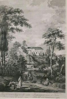 Acquaforte e bulino del senese Fabio Berardi. Paesaggio con motivi di Rota vicino a Tolfa 1765 1770 da Bellotto. Collezione privata
