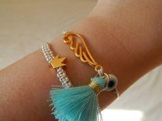 Gold Crown Macrame Bracelet with Beige Cord - Summer Bracelet - Princess Crown Charm Bracelet Tassel Bracelet, Macrame Bracelets, Handmade Bracelets, Greek Evil Eye, Friend Jewelry, Friendship Necklaces, Summer Bracelets, Evil Eye Charm, Evil Eye Bracelet