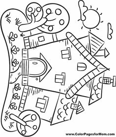 Adult houses Coloring Pages Printable | House Coloring Page 23