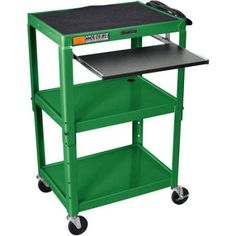 Luxor Steel Adjustable Height A/V Cart with Pullout Keyboard Tray, Green