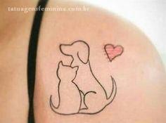 New Jewerly Tattoo Ideas Art Ideas Wolf Tattoos, New Tattoos, Body Art Tattoos, Small Tattoos, Tatoos, Cat And Dog Tattoo, Cat Tattoo, Tattoo Art, Tattoo Designs