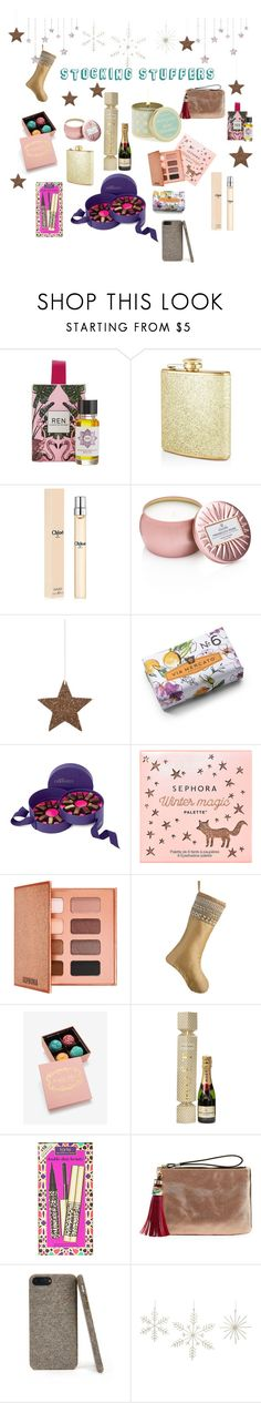 """#PolyPresents: Stocking Stuffers"" by mel-phill ❤ liked on Polyvore featuring REN, Blush, Voluspa, Shishi, Pré de Provence, Vosges, Sephora Collection, Frontgate, MoÃ«t & Chandon and Neiman Marcus"