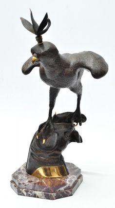 ASSINATURA NÃO IDENTIFICADA - Magnífica escultura em bronze ricamente cinzelado, tiragem 29/150, rep