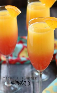 Tequila Sunrise Mimosa - Made with tequila, champagne, orange juice and grenadine. Tequila Sunrise Mimosa made with tequila, champagne, orange juice and grenadine. Party Drinks, Cocktail Drinks, Tequila Drinks, Drinks Made With Tequila, Alcoholic Beverages, Mimosa Party, Mimosa Punch, Alcoholic Shots, Vodka Cocktails