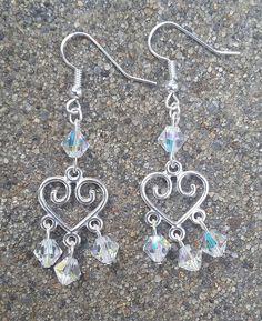 Silver Heart Shaped White Crystal Bead Dangle Earrings/Wedding/Anniversary/Prom/Valentine/Bridesmaid/Gift Idea/Handmade/Accessory/Elegant
