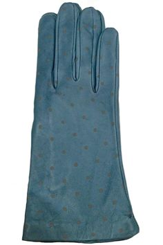 Solid color Teal Lamb skin Leather Gloves with Grey Polka dots,These gloves not only will keep your hands warm but they also look very stylish with your coat.   Teal Dots Leather Glove by Santacana Madrid. Accessories - Winter Accessories Portland, Oregon