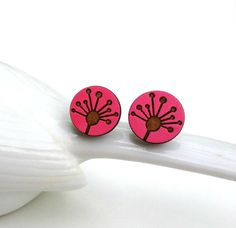 Hot Pink Dandelion flower laser cut wood earrings from Maple hand painted…
