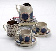 Katrin Moye's charming ceramics are inspired by traditional textiles  of Eastern Europe, the origins of her family. She produces h...