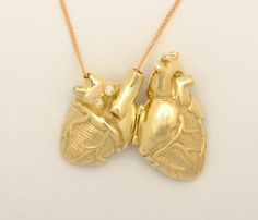 18k Gold and Diamond Anatomical Heart Locket by heronadornment
