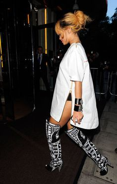When wearing knee/ thigh boots, try and wear an over sized t shirt dress that just skims the top of the boots so you can still see a bit of skin in-between for a laid back but still flattering outfit. - popculturez.com #Rihanna #Rihannanavy