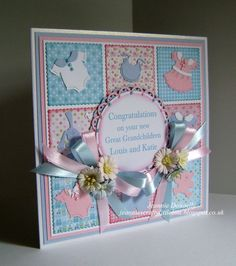 New Baby Card, Boy and Girl in an inchies style using Baby Clothes from Cottage Cutz, Tonic Scalloped Squares and Spellbinders Lacey Circles.