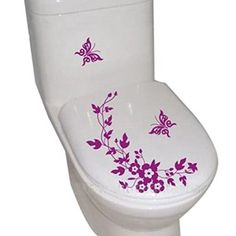 Purple Butterfly Flower Toilet Stickers Butterfly Bathroom Decor # Butterflies #bathroom | Decorating Ideas For Bathroom | Pinterest | Butterfly  Bathroom, ...