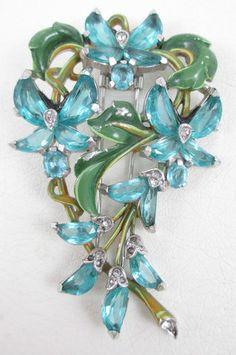 Stunning  Trifari Enamel Demi Lune Alfred Phillipe Dress Clip