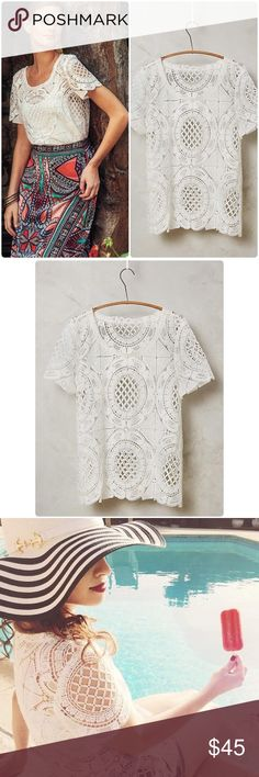 "Anthropologie Cutwork Lace tee  NWT Cutwork Lace Tee by Blue tassel Anthropologie ❤. Polyester, Pullover styling, Hand wash, 24"" Length NWT color white Size Extra Small. Doesn't come with slip. I have this in black too in my closet 💕 Anthropologie Tops"
