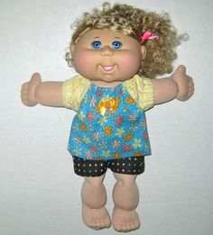 Cabbage Patch Doll Clothes Sweet Aqua Flower Top by Dakocreations