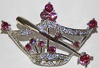 Crown Pin with Wand-Rhinestones