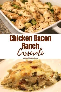 Chicken Bacon Ranch Casserole is the perfect weeknight dinner.  It is loaded with tons of flavor and KETO friendly with only 6 net Carbs in each serving.   . You need to make this ASAP! . #keto #chicken #bacon #ranch #casserole #dinner #recipe #sparklesnsprouts