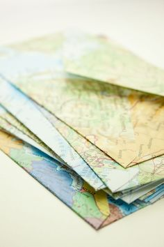 Maps become envelopes (projects, crafts, DIY, do it yourself, interior design, home decor, fun, creative, uses, use, ideas, inspiration, 3R's, reduce, reuse, recycle, used, upcycle, repurpose, handmade, homemade, letter, paper, cute)