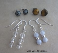 Gemstone earrings. Here are snowflake obsidian, tiger eye, crystal quartz and blue lace agate. #snowflakeobsidian #tigereye #crystalquartz #bluelaceagate #missvalscreations