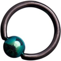 Black Titanium (Blackline) Ball Closure Rings with Green Titanium Ball