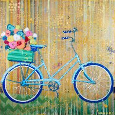 """Blue Beach Bike"" 48x48 mixed media Shain Gallery 704-334-7744 Sold"