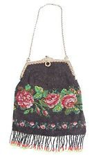 EDWARDIAN Floral ROSE MICRO BEADED 1920's Vintage ANTIQUE Handbag PURSE
