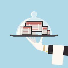 Il Computer visualizza o risposta Web Design concetto di servizio.  Vettore - illustrazione arte vettoriale