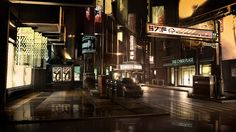 Urban dystopia (Detroit, Hengsha Island, Montreal, Singapore), Deus Ex: Human Revolution, 2011.