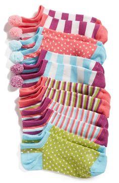Tucker + Tate 'Pretty Pompom' Print Ankle Socks (6-Pack) (Toddler, Little Kid & Big Kid) available at #Nordstrom