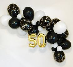 Black White Gold Balloon, Gold Chrome Balloon, Black and Confetti Look Latex Black and Gold Party,Black and Gold Balloons,Milestone Birthday 40th Birthday Balloons, 50th Birthday Party Decorations, Gold Birthday Party, Birthday Backdrop, 40th Birthday Parties, 80th Birthday, Black And White Balloons, White Gold, Black White