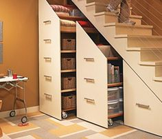 Home Ideas Mag under the stairs rolling storage units