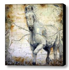 Horse Art Painting  Equine Canvas Print by EnzieShahmiriDesigns Variety of custom made to order sizes available