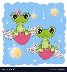 Illustration about Valentine card Lovers Frogs are flying on the hearts. Illustration of frame, child, cheerful - 92240889 Cartoon Tiger, Cute Cartoon Boy, Kitten Cartoon, Cartoon Elephant, Cartoon Mignon, Baby Shower Greeting Cards, Frog Rock, Owl Vector, Frog Pictures
