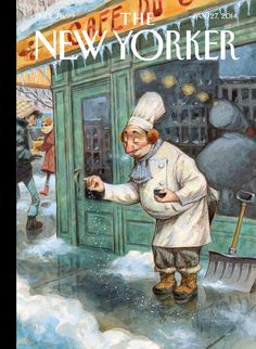 Jean-Jacques Sempé / Just a Pinch - The New Yorker Cover, January 2014 Poster Print by Peter de Sève at the Condé Nast Collection on imgfave The New Yorker, New Yorker Covers, Magazine Illustration, Illustration Art, Capas New Yorker, Cover Art, Just A Pinch, Le Chef, Canvas Prints