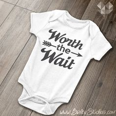 Worth the Wait Baby Onesie, Hipster Arrow, Infant One-Piece Bodysuit, Coming Home Outfit, Baby Shower Gift, Made to Order