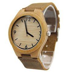 Fulltime® Unisexe Montres à Quartz – Bambou Cadran – Bracelet en Cuir Souple – N